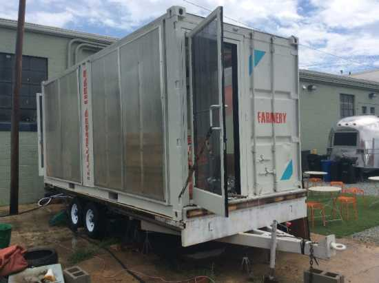20' Modified Shipping Container on trailer